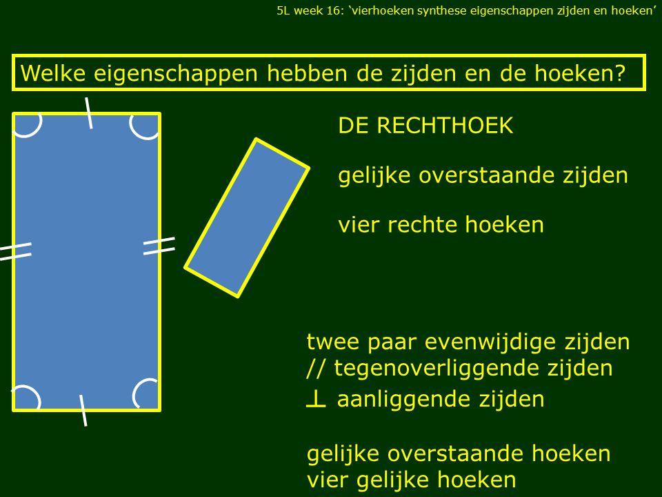 twee paar evenwijdige zijden // tegenoverliggende zijden ┴ aanliggende zijden gelijke overstaande hoeken vier gelijke hoeken Welke eigenschappen hebben de zijden en de hoeken.