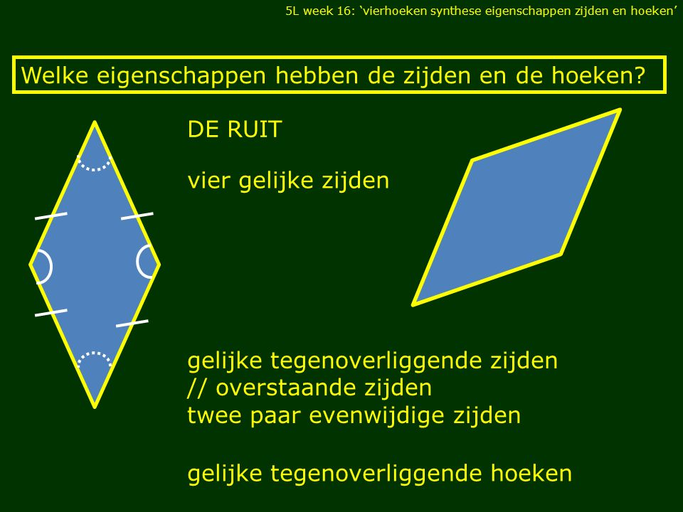 gelijke tegenoverliggende zijden // overstaande zijden twee paar evenwijdige zijden Welke eigenschappen hebben de zijden en de hoeken? vier gelijke zi