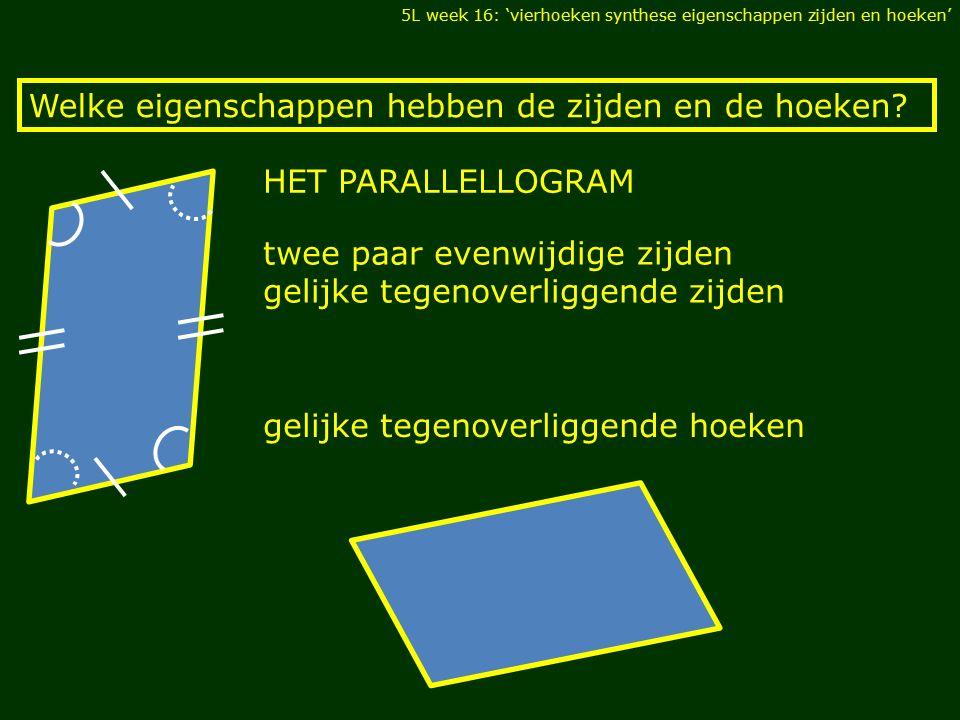 Welke eigenschappen hebben de zijden en de hoeken? gelijke tegenoverliggende hoeken twee paar evenwijdige zijden gelijke tegenoverliggende zijden HET