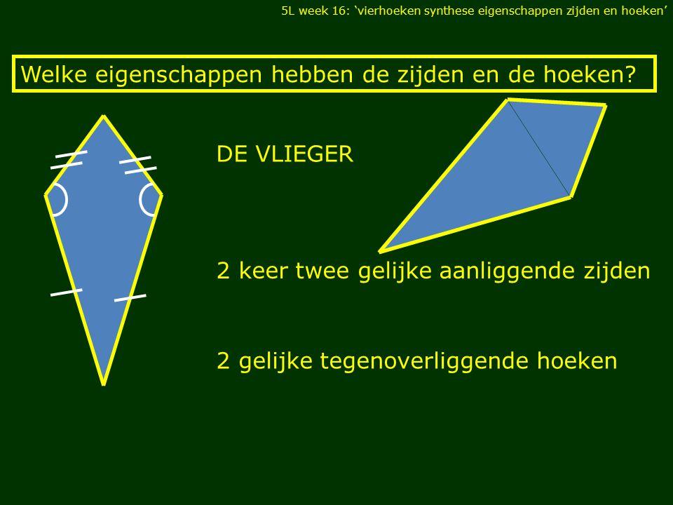 Welke eigenschappen hebben de zijden en de hoeken? 2 keer twee gelijke aanliggende zijden 2 gelijke tegenoverliggende hoeken DE VLIEGER 5L week 16: 'v