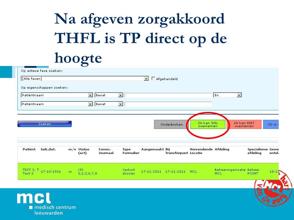 Na afgeven zorgakkoord THFL is TP direct op de hoogte