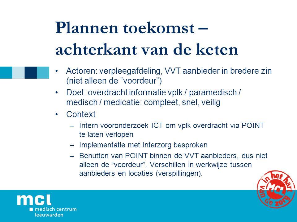 """Plannen toekomst – achterkant van de keten Actoren: verpleegafdeling, VVT aanbieder in bredere zin (niet alleen de """"voordeur"""") Doel: overdracht inform"""