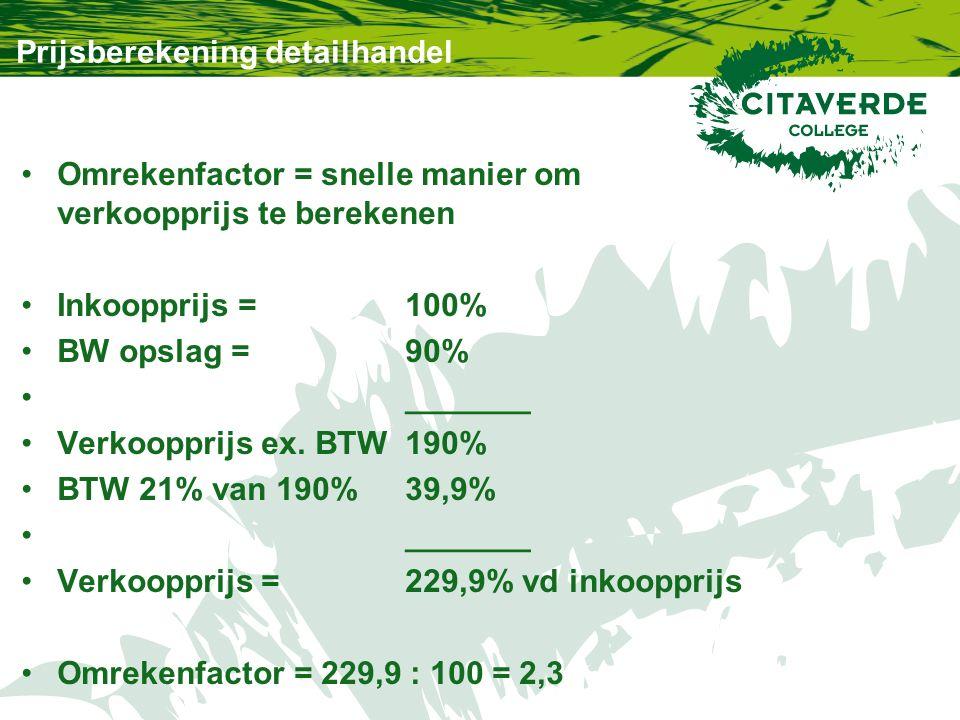 Prijsberekening detailhandel Omrekenfactor = snelle manier om verkoopprijs te berekenen Inkoopprijs = 100% BW opslag = 90% _______ Verkoopprijs ex.