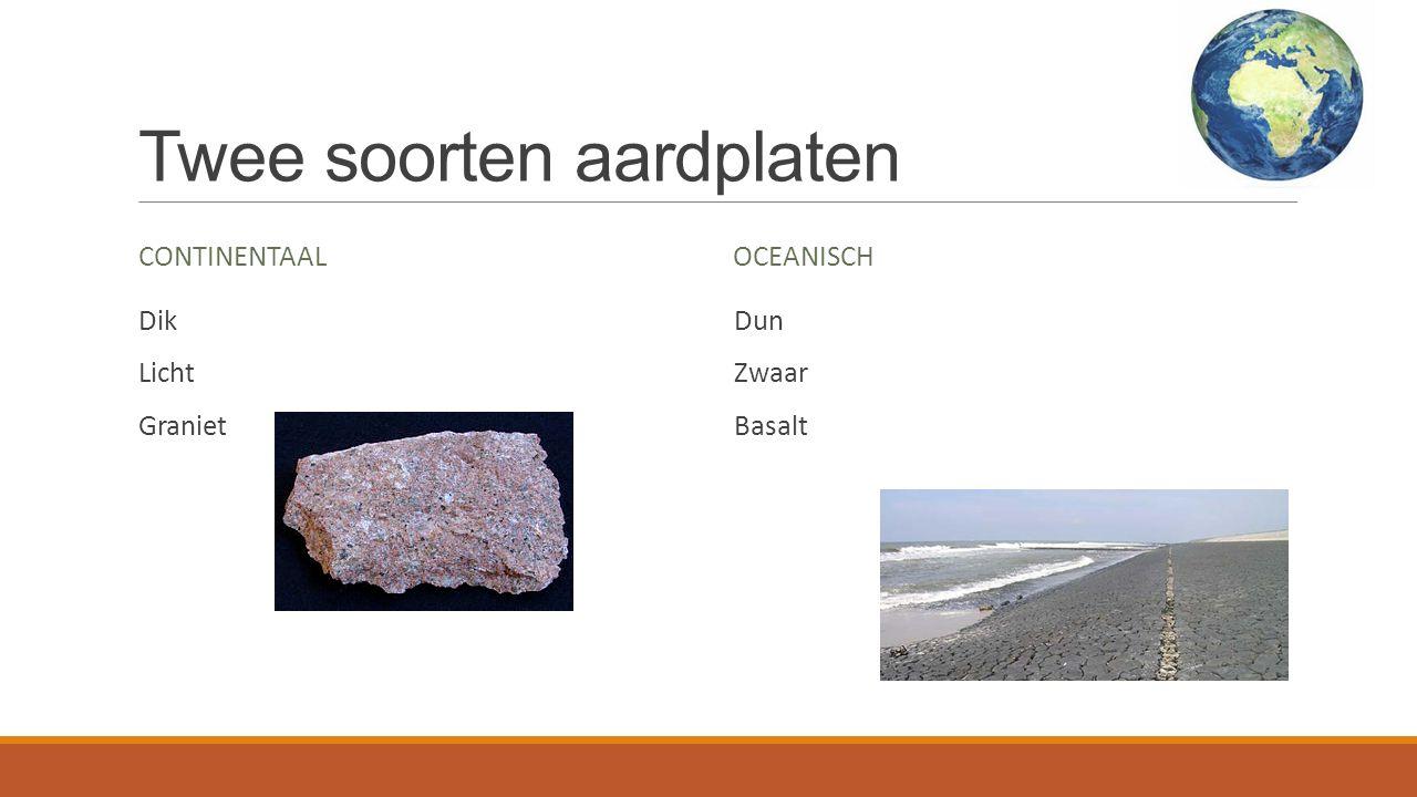Twee soorten aardplaten CONTINENTAAL Dik Licht Graniet OCEANISCH Dun Zwaar Basalt
