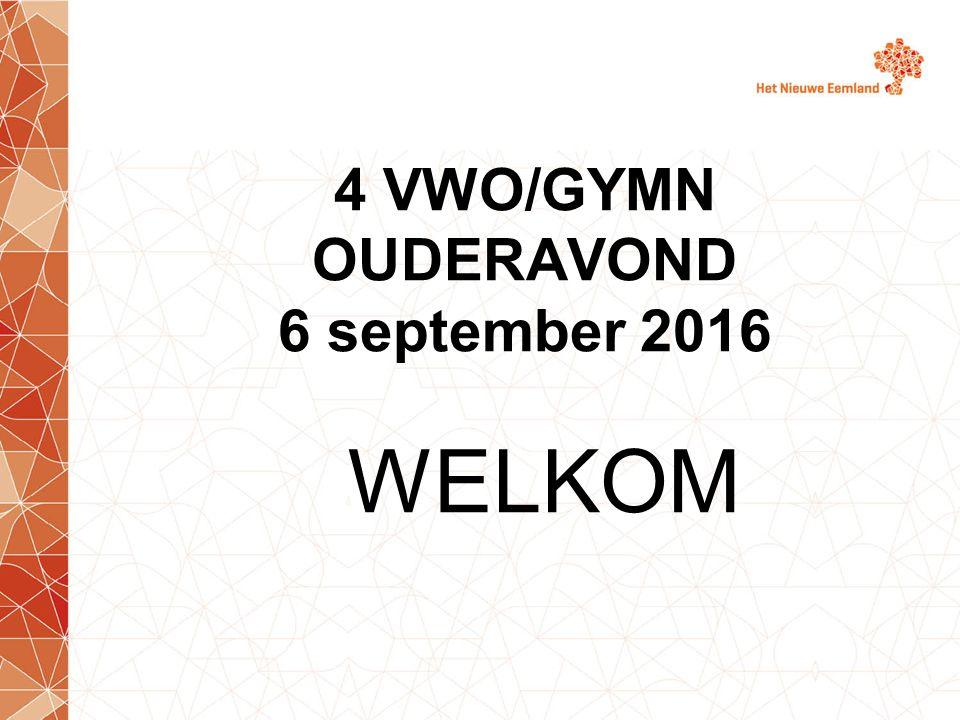 4 VWO/GYMN OUDERAVOND 6 september 2016 WELKOM