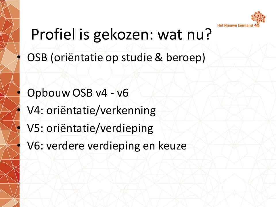 Profiel is gekozen: wat nu? OSB (oriëntatie op studie & beroep) Opbouw OSB v4 - v6 V4: oriëntatie/verkenning V5: oriëntatie/verdieping V6: verdere ver