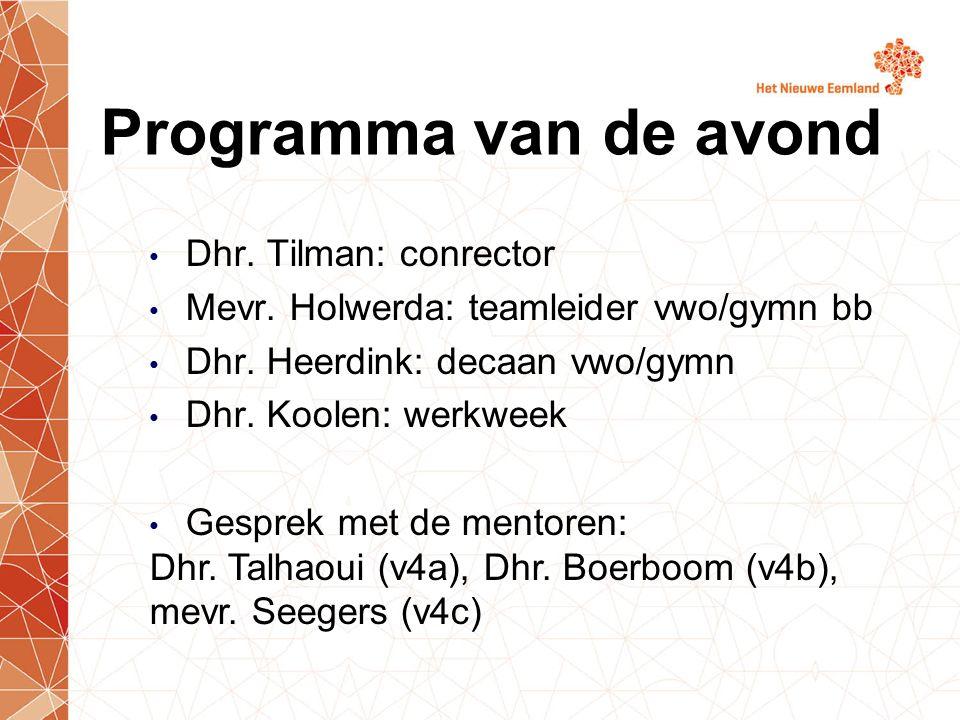 Dhr. Tilman: conrector Mevr. Holwerda: teamleider vwo/gymn bb Dhr. Heerdink: decaan vwo/gymn Dhr. Koolen: werkweek Gesprek met de mentoren: Dhr. Talha