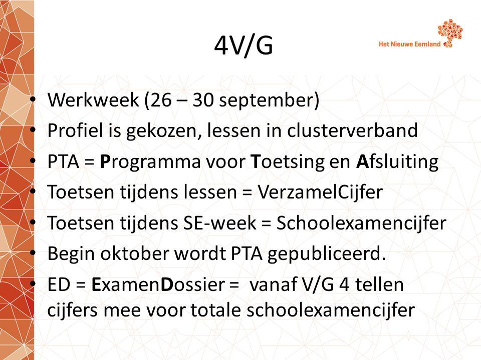 4V/G Werkweek (26 – 30 september) Profiel is gekozen, lessen in clusterverband PTA = Programma voor Toetsing en Afsluiting Toetsen tijdens lessen = Ve