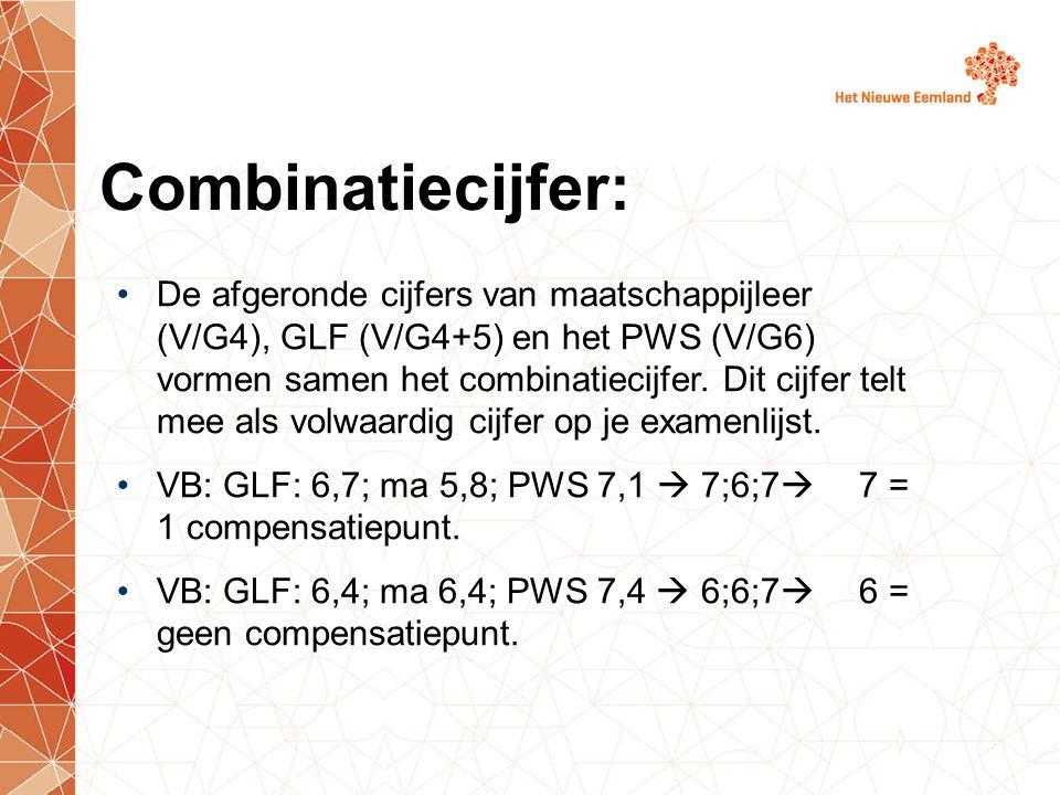 Combinatiecijfer: De afgeronde cijfers van maatschappijleer (V/G4), GLF (V/G4+5) en het PWS (V/G6) vormen samen het combinatiecijfer. Dit cijfer telt