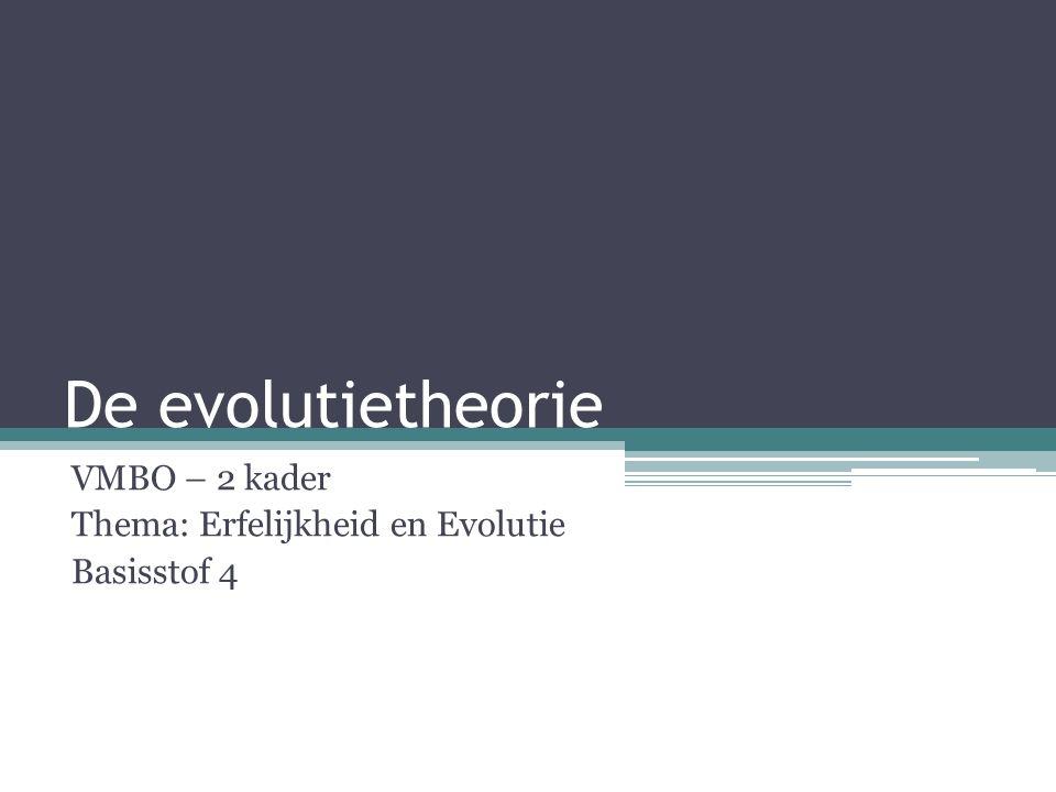 De evolutietheorie VMBO – 2 kader Thema: Erfelijkheid en Evolutie Basisstof 4