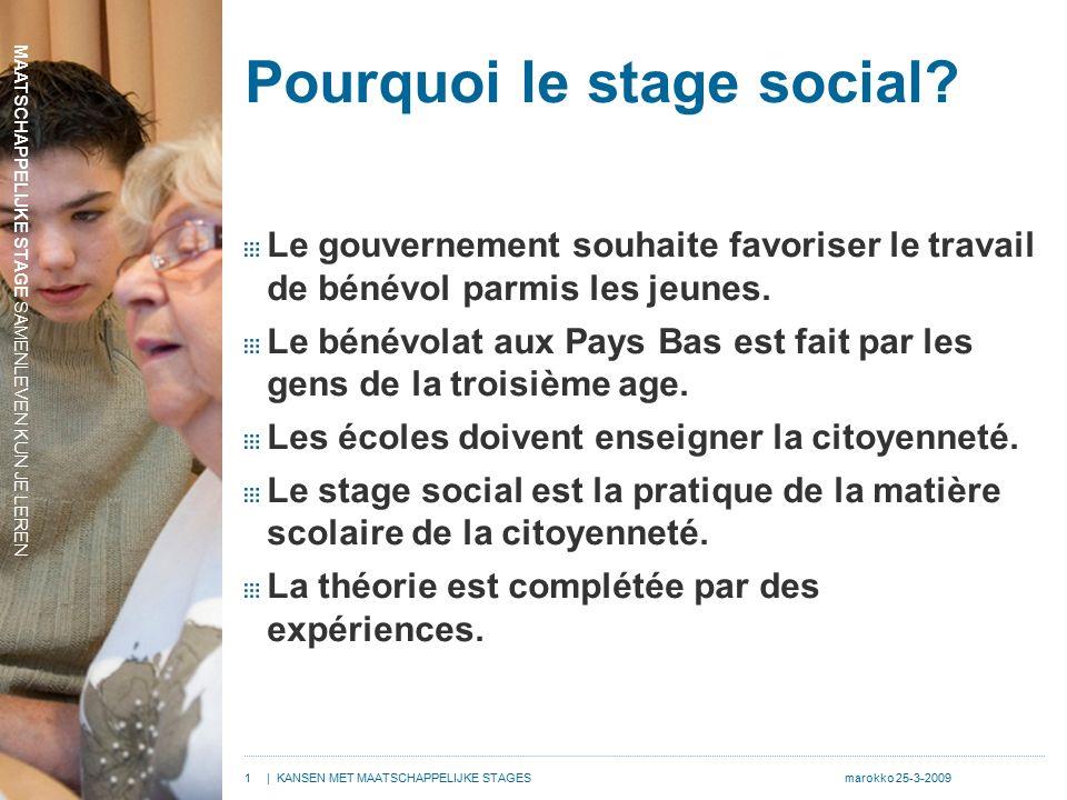MAATSCHAPPELIJKE STAGE SAMENLEVEN KUN JE LEREN 1| KANSEN MET MAATSCHAPPELIJKE STAGESmarokko 25-3-2009 Pourquoi le stage social.