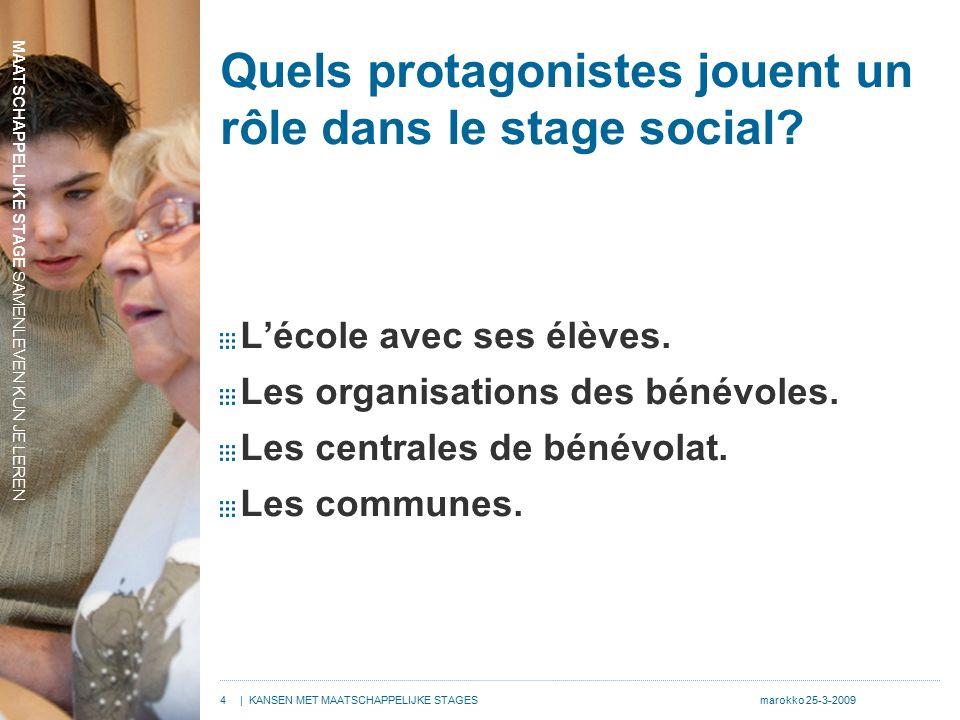 MAATSCHAPPELIJKE STAGE SAMENLEVEN KUN JE LEREN 4| KANSEN MET MAATSCHAPPELIJKE STAGESmarokko 25-3-2009 Quels protagonistes jouent un rôle dans le stage social.