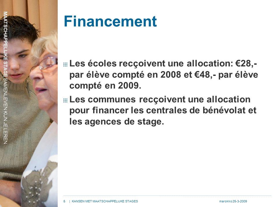 MAATSCHAPPELIJKE STAGE SAMENLEVEN KUN JE LEREN 5| KANSEN MET MAATSCHAPPELIJKE STAGESmarokko 25-3-2009 Financement Les écoles recçoivent une allocation: €28,- par élève compté en 2008 et €48,- par élève compté en 2009.