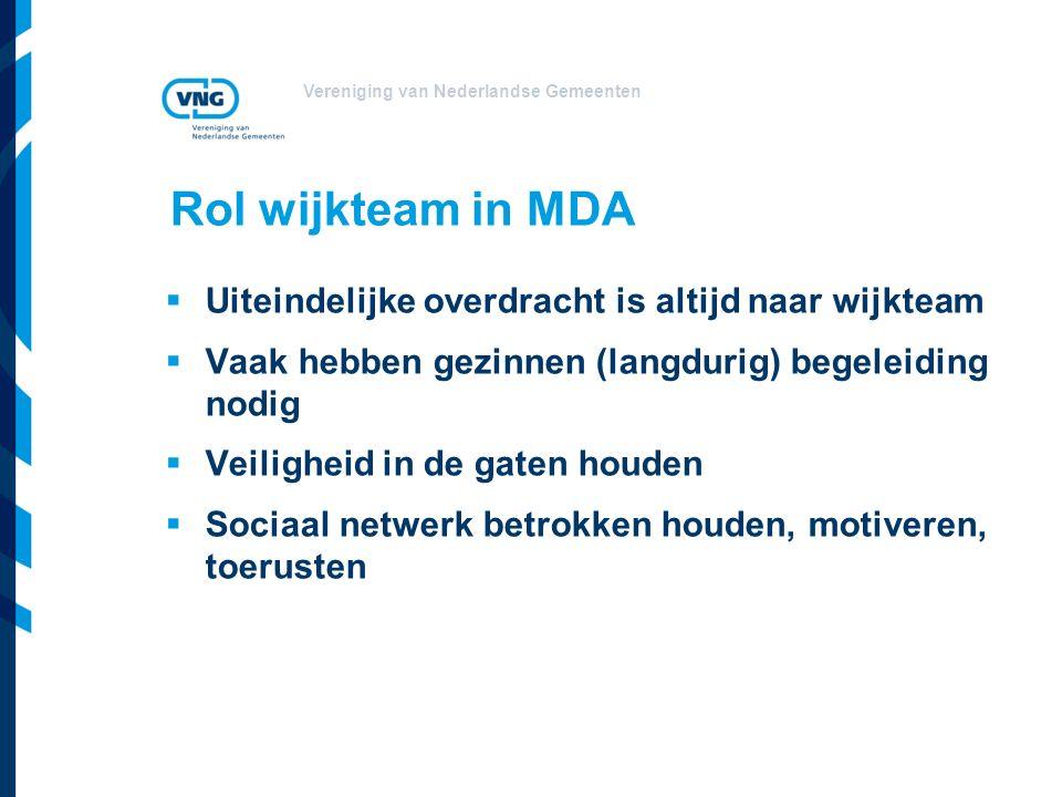 Vereniging van Nederlandse Gemeenten Rol wijkteam in MDA  Uiteindelijke overdracht is altijd naar wijkteam  Vaak hebben gezinnen (langdurig) begeleiding nodig  Veiligheid in de gaten houden  Sociaal netwerk betrokken houden, motiveren, toerusten