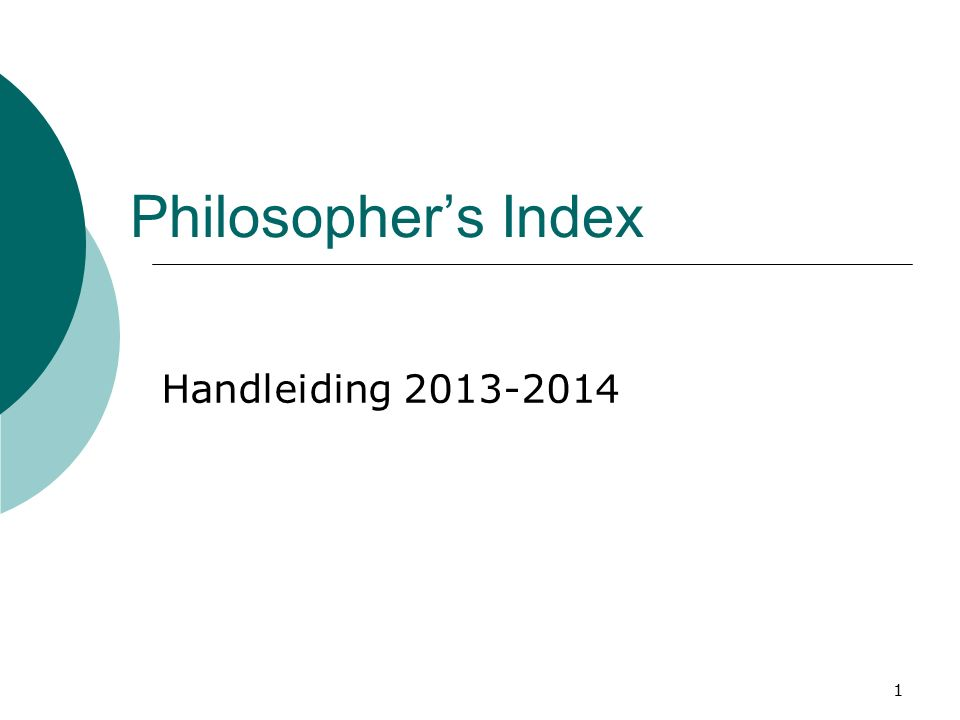 2 Philosopher's Index