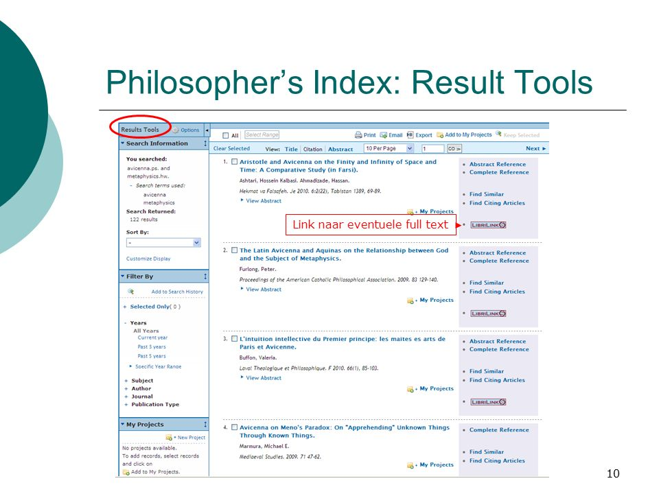 10 Philosopher's Index: Result Tools Link naar eventuele full text
