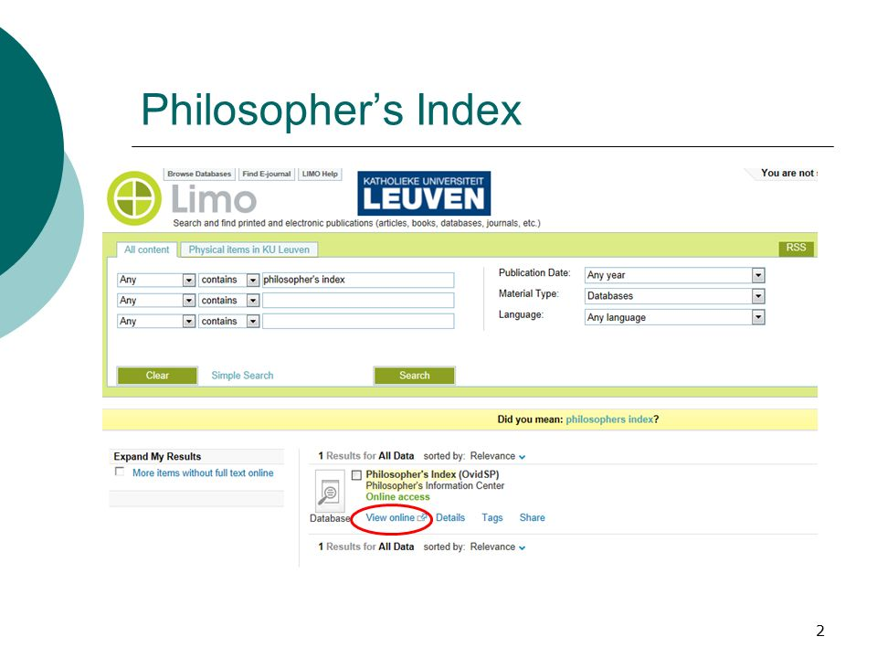 2 Philosopher's Index