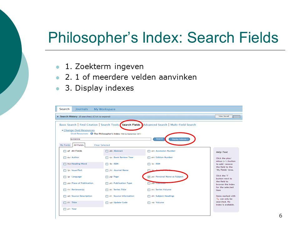 7 Philosopher's Index  Vink de gewenste zoekterm aan en klik op Search for selected terms