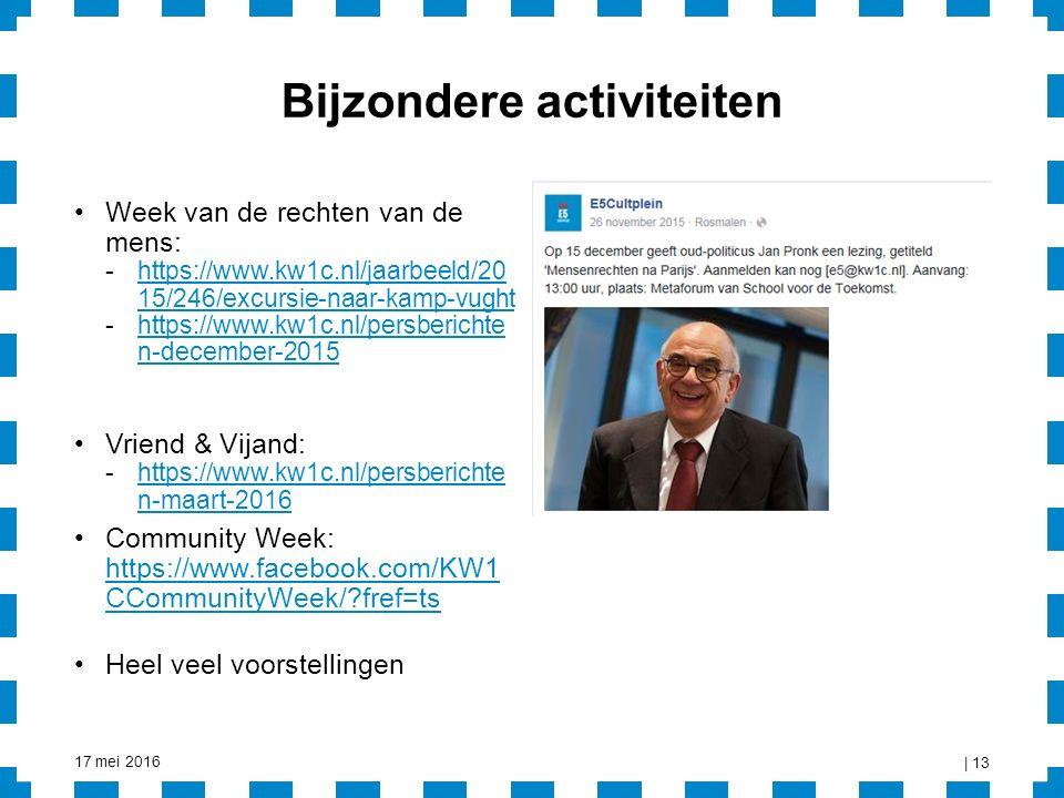 Bijzondere activiteiten Week van de rechten van de mens: -https://www.kw1c.nl/jaarbeeld/20 15/246/excursie-naar-kamp-vughthttps://www.kw1c.nl/jaarbeeld/20 15/246/excursie-naar-kamp-vught -https://www.kw1c.nl/persberichte n-december-2015https://www.kw1c.nl/persberichte n-december-2015 Vriend & Vijand: -https://www.kw1c.nl/persberichte n-maart-2016https://www.kw1c.nl/persberichte n-maart-2016 Community Week: https://www.facebook.com/KW1 CCommunityWeek/?fref=ts https://www.facebook.com/KW1 CCommunityWeek/?fref=ts Heel veel voorstellingen 17 mei 2016 | 13