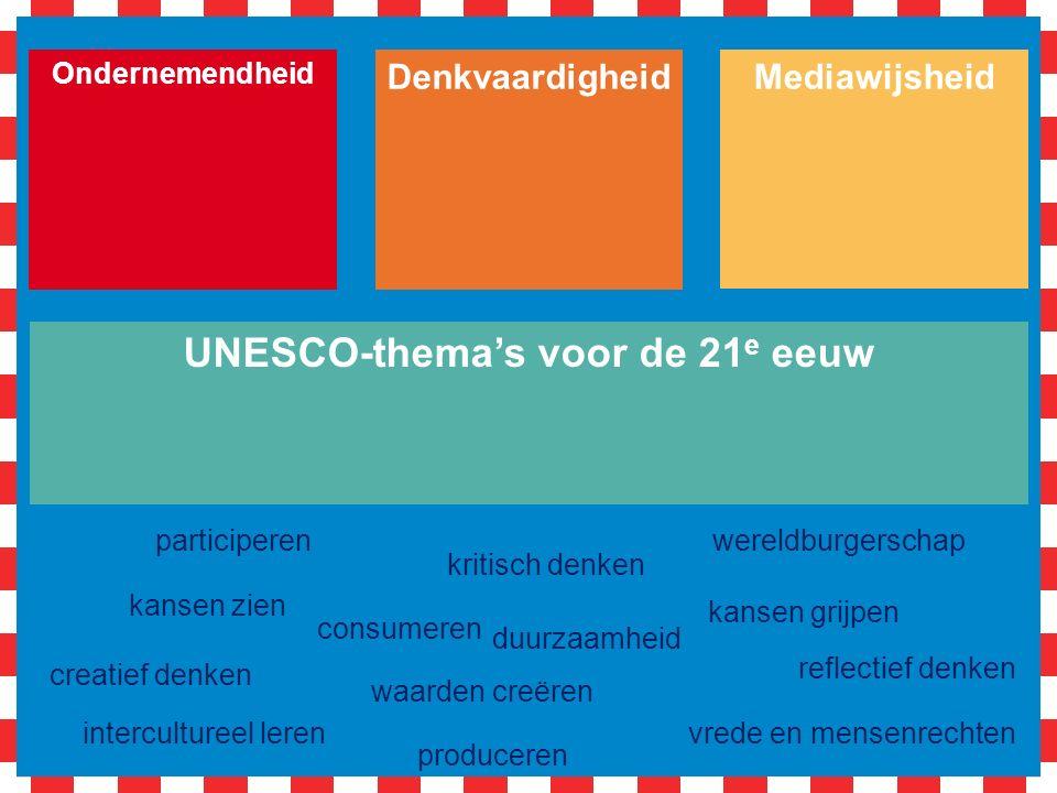 Denkvaardigheid Ondernemendheid Mediawijsheid UNESCO-thema's voor de 21 e eeuw vrede en mensenrechten wereldburgerschap intercultureel leren duurzaamheid kansen zien kansen grijpen waarden creëren creatief denken kritisch denken reflectief denken consumeren participeren produceren