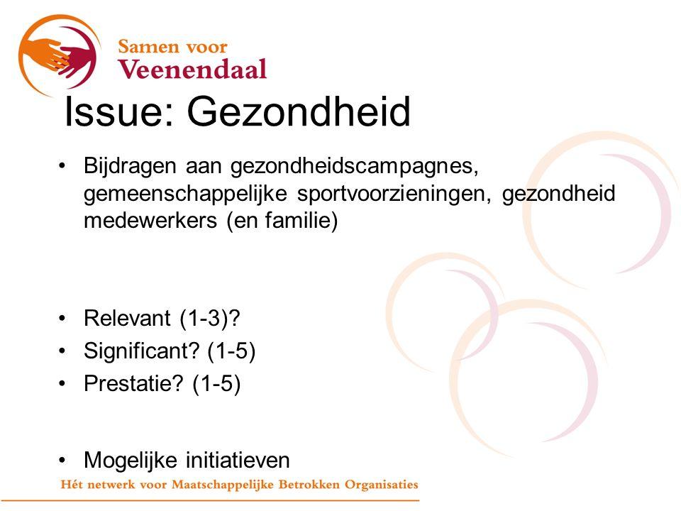 Issue: Gezondheid Bijdragen aan gezondheidscampagnes, gemeenschappelijke sportvoorzieningen, gezondheid medewerkers (en familie) Relevant (1-3).