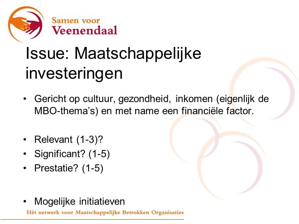 Issue: Maatschappelijke investeringen Gericht op cultuur, gezondheid, inkomen (eigenlijk de MBO-thema's) en met name een financiële factor.