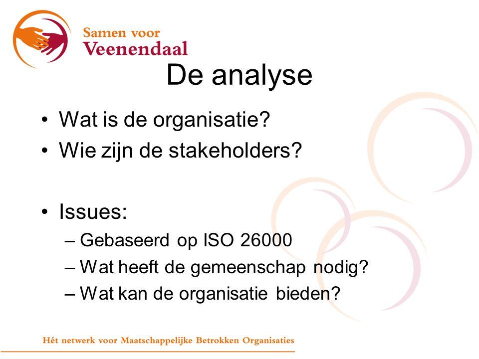 De analyse Wat is de organisatie. Wie zijn de stakeholders.