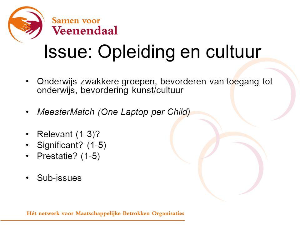 Issue: Opleiding en cultuur Onderwijs zwakkere groepen, bevorderen van toegang tot onderwijs, bevordering kunst/cultuur MeesterMatch (One Laptop per Child) Relevant (1-3).