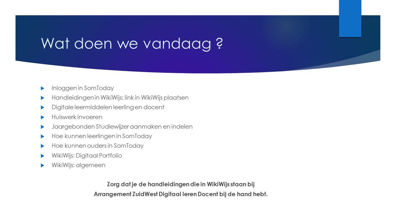 Wat doen we vandaag ?  Inloggen in SomToday  Handleidingen in WikiWijs: link in WikiWijs plaatsen  Digitale leermiddelen leerling en docent  Huisw
