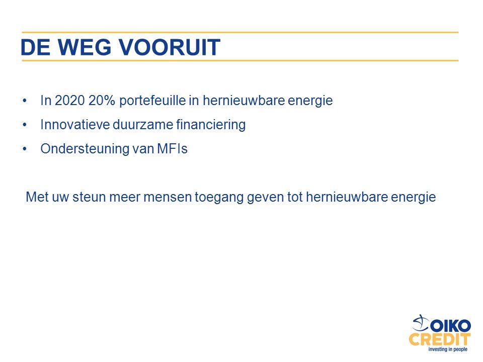DE WEG VOORUIT In 2020 20% portefeuille in hernieuwbare energie Innovatieve duurzame financiering Ondersteuning van MFIs Met uw steun meer mensen toegang geven tot hernieuwbare energie