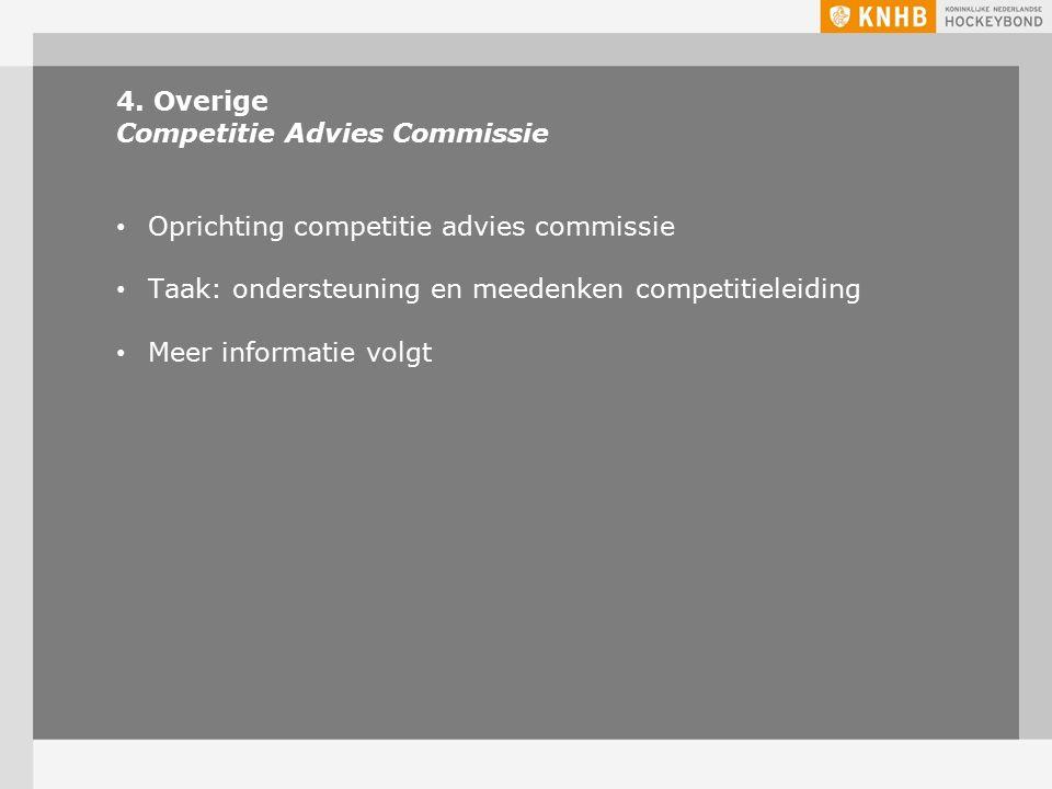 4. Overige Competitie Advies Commissie Oprichting competitie advies commissie Taak: ondersteuning en meedenken competitieleiding Meer informatie volgt