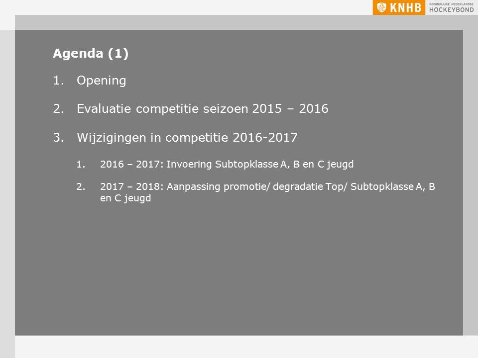 Agenda (1) 1.Opening 2.Evaluatie competitie seizoen 2015 – 2016 3.Wijzigingen in competitie 2016-2017 1.2016 – 2017: Invoering Subtopklasse A, B en C jeugd 2.2017 – 2018: Aanpassing promotie/ degradatie Top/ Subtopklasse A, B en C jeugd