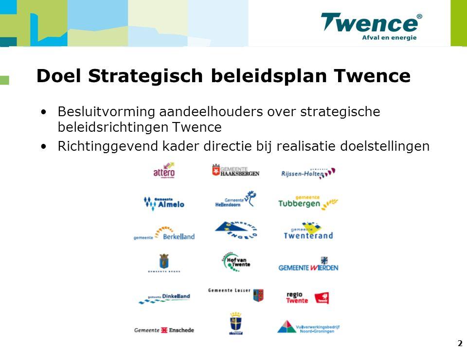 2 Doel Strategisch beleidsplan Twence Besluitvorming aandeelhouders over strategische beleidsrichtingen Twence Richtinggevend kader directie bij realisatie doelstellingen