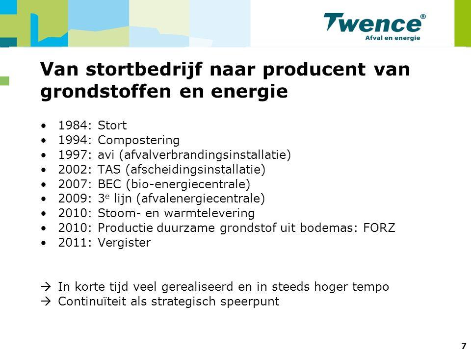 Van stortbedrijf naar producent van grondstoffen en energie 1984: Stort 1994: Compostering 1997: avi (afvalverbrandingsinstallatie) 2002: TAS (afscheidingsinstallatie) 2007: BEC (bio-energiecentrale) 2009: 3 e lijn (afvalenergiecentrale) 2010: Stoom- en warmtelevering 2010: Productie duurzame grondstof uit bodemas: FORZ 2011: Vergister  In korte tijd veel gerealiseerd en in steeds hoger tempo  Continuïteit als strategisch speerpunt 7
