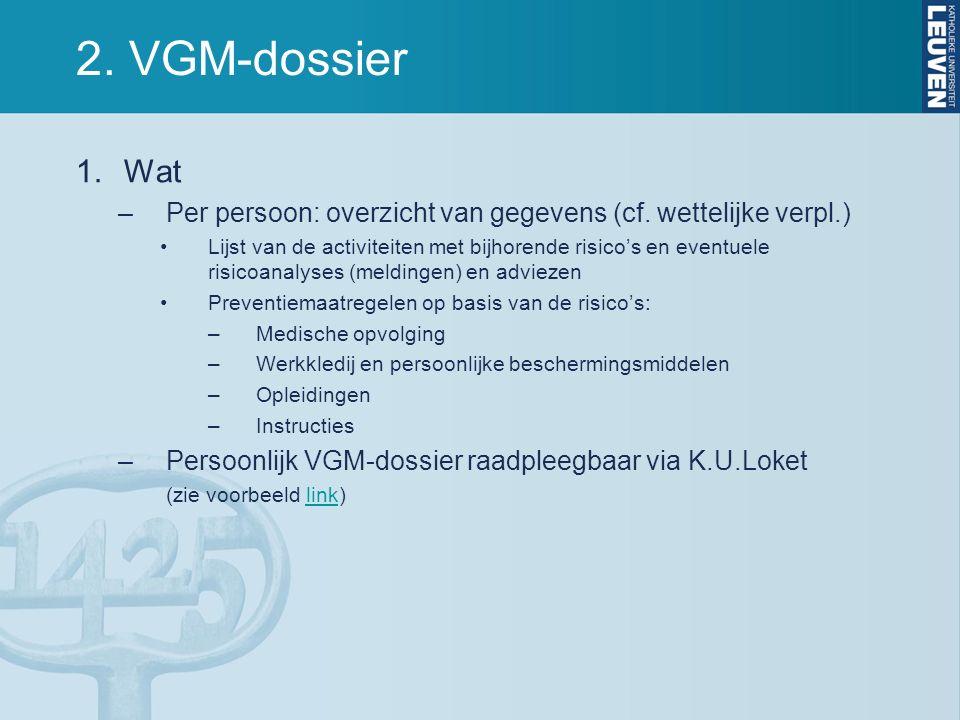 2. VGM-dossier 1.Wat –Per persoon: overzicht van gegevens (cf. wettelijke verpl.) Lijst van de activiteiten met bijhorende risico's en eventuele risic