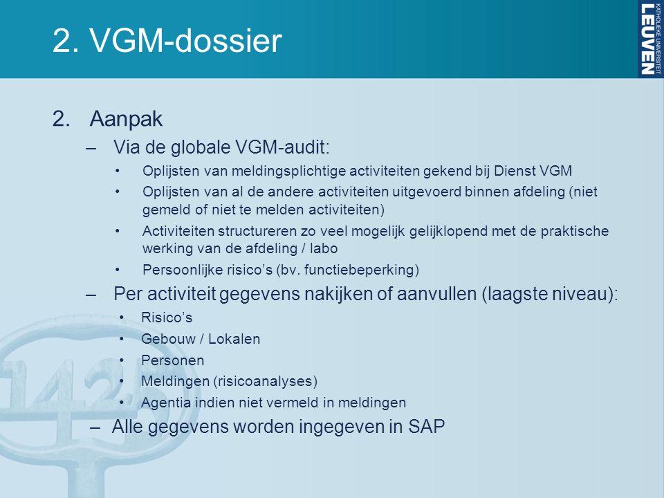 2. VGM-dossier 2.Aanpak –Via de globale VGM-audit: Oplijsten van meldingsplichtige activiteiten gekend bij Dienst VGM Oplijsten van al de andere activ