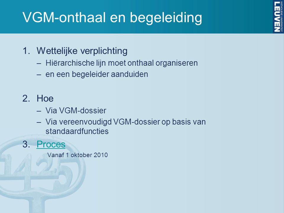 VGM-onthaal en begeleiding 1.Wettelijke verplichting –Hiërarchische lijn moet onthaal organiseren –en een begeleider aanduiden 2.Hoe –Via VGM-dossier
