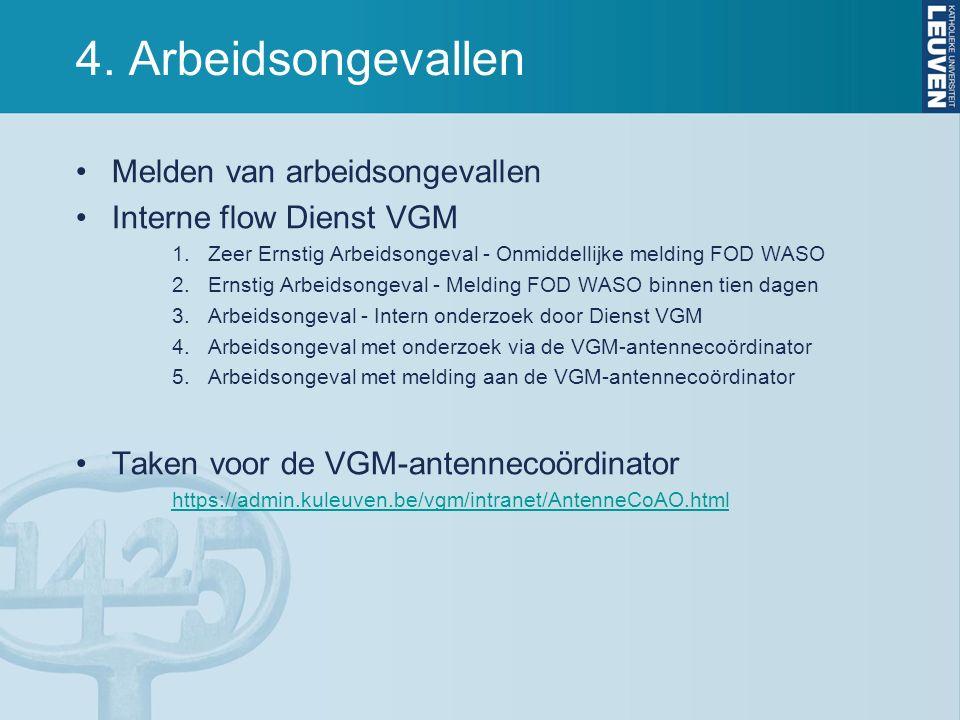 4. Arbeidsongevallen Melden van arbeidsongevallen Interne flow Dienst VGM 1.Zeer Ernstig Arbeidsongeval - Onmiddellijke melding FOD WASO 2.Ernstig Arb