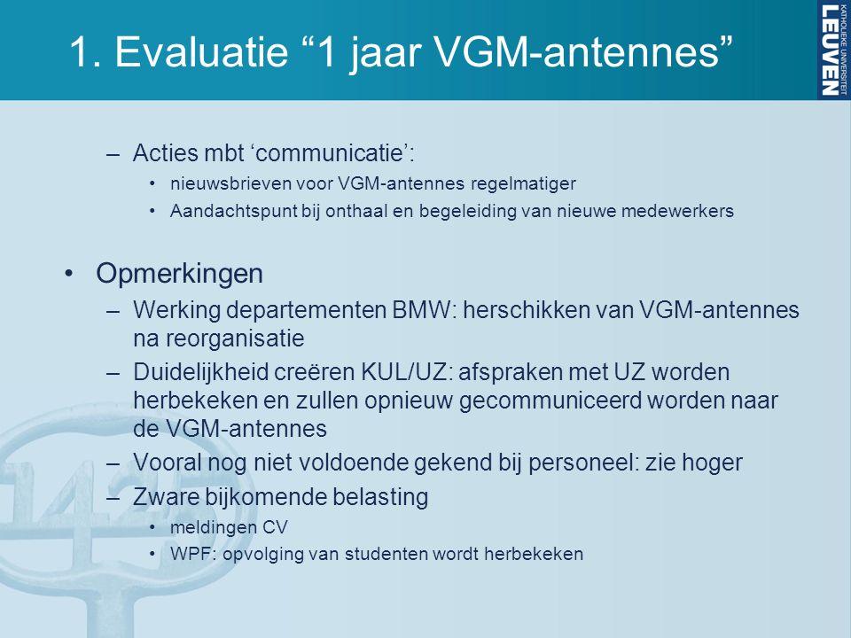 """1. Evaluatie """"1 jaar VGM-antennes"""" –Acties mbt 'communicatie': nieuwsbrieven voor VGM-antennes regelmatiger Aandachtspunt bij onthaal en begeleiding v"""