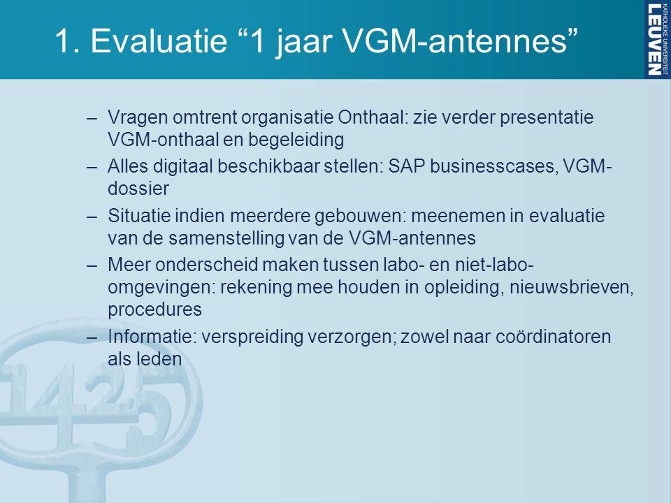 """1. Evaluatie """"1 jaar VGM-antennes"""" –Vragen omtrent organisatie Onthaal: zie verder presentatie VGM-onthaal en begeleiding –Alles digitaal beschikbaar"""