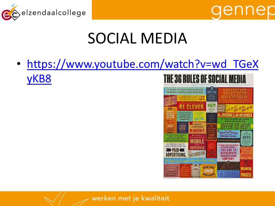 SOCIAL MEDIA https://www.youtube.com/watch?v=wd_TGeX yKB8 https://www.youtube.com/watch?v=wd_TGeX yKB8