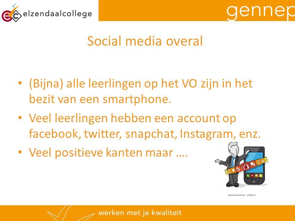 Social media overal (Bijna) alle leerlingen op het VO zijn in het bezit van een smartphone. Veel leerlingen hebben een account op facebook, twitter, s