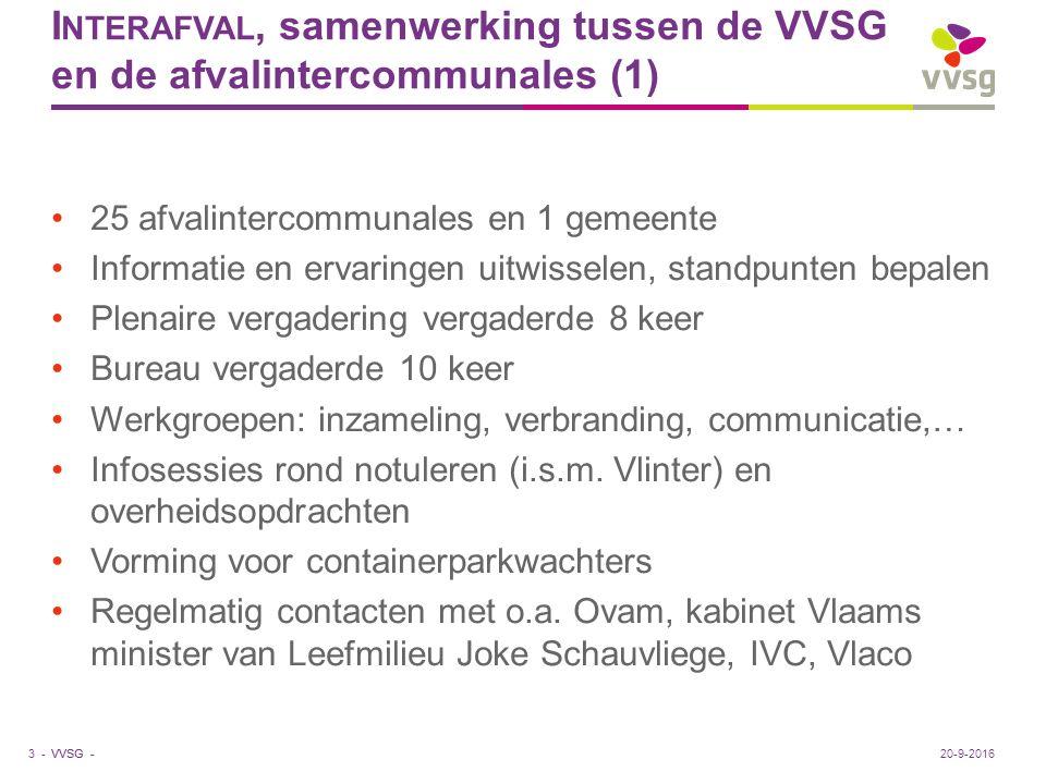 VVSG - I NTERAFVAL, samenwerking tussen de VVSG en de afvalintercommunales (1) 25 afvalintercommunales en 1 gemeente Informatie en ervaringen uitwisse