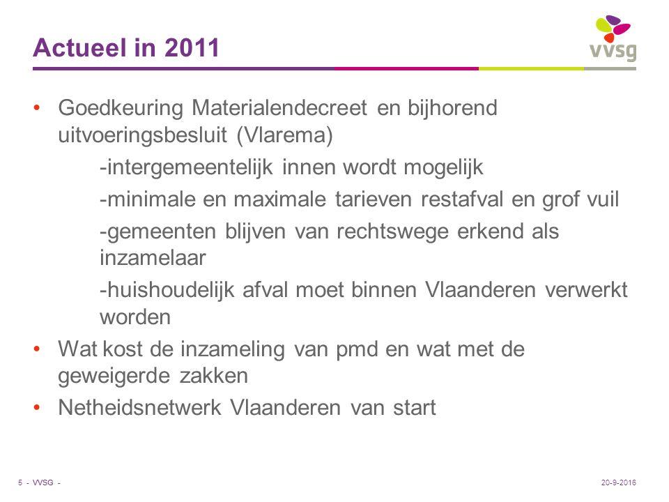 VVSG - Actueel in 2011 Goedkeuring Materialendecreet en bijhorend uitvoeringsbesluit (Vlarema) -intergemeentelijk innen wordt mogelijk -minimale en ma