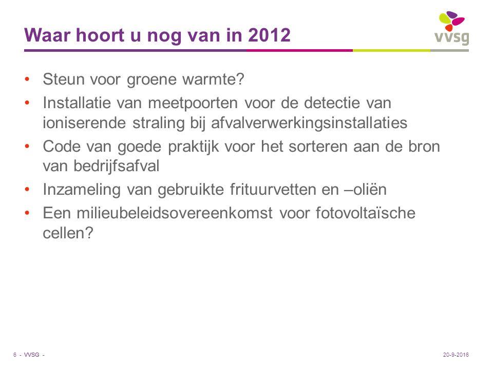 VVSG - Waar hoort u nog van in 2012 Steun voor groene warmte? Installatie van meetpoorten voor de detectie van ioniserende straling bij afvalverwerkin