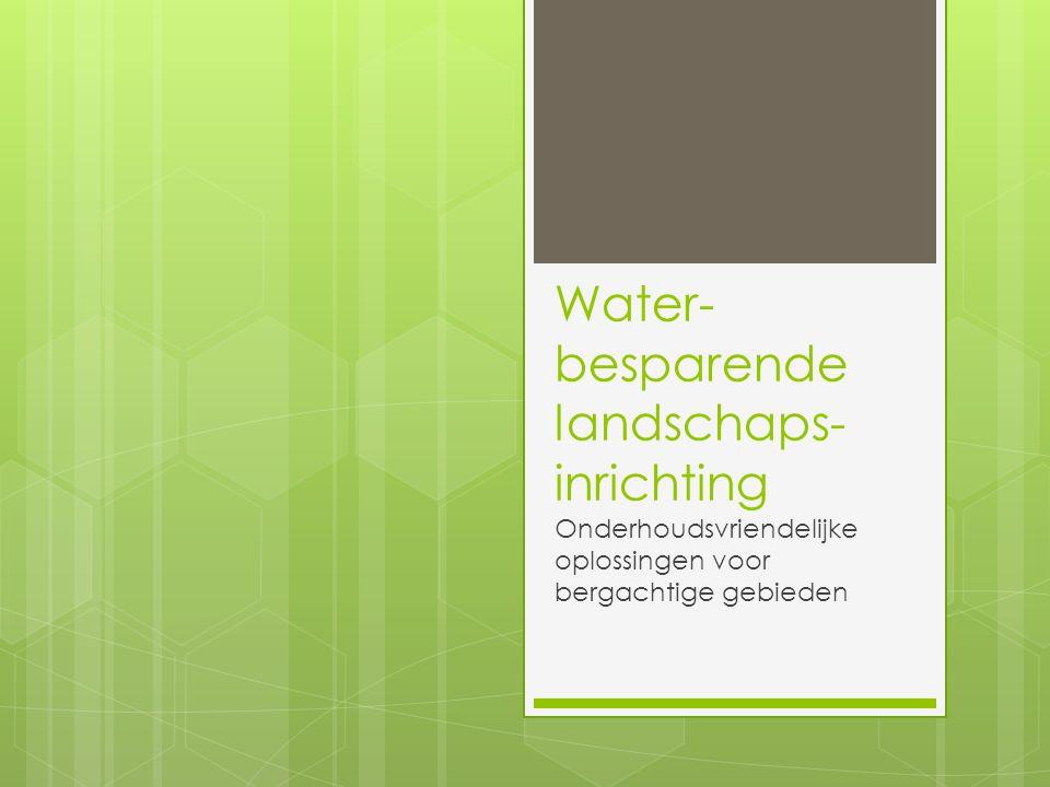 Water- besparende landschaps- inrichting Onderhoudsvriendelijke oplossingen voor bergachtige gebieden