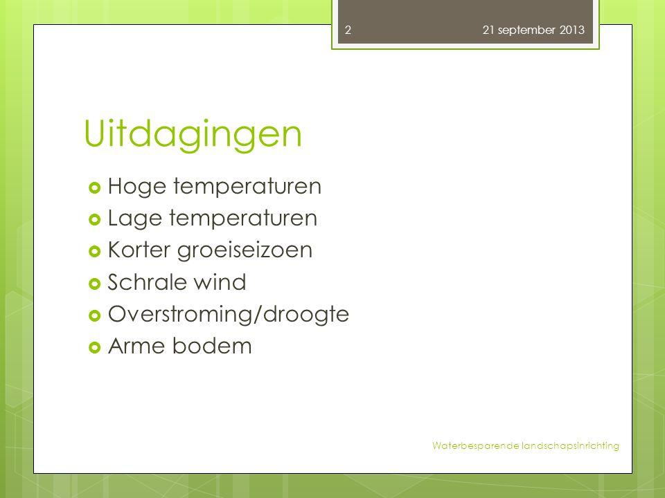 Uitdagingen  Hoge temperaturen  Lage temperaturen  Korter groeiseizoen  Schrale wind  Overstroming/droogte  Arme bodem 21 september 2013 2 Water