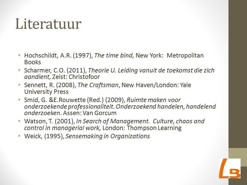 Literatuur Hochschildt, A.R. (1997), The time bind, New York: Metropolitan Books Scharmer, C.O. (2011), Theorie U. Leiding vanuit de toekomst die zich