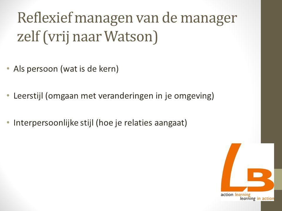 Reflexief managen van de manager zelf (vrij naar Watson) Als persoon (wat is de kern) Leerstijl (omgaan met veranderingen in je omgeving) Interpersoonlijke stijl (hoe je relaties aangaat)