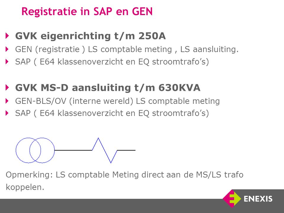 Registratie in SAP en GEN GVK eigenrichting t/m 250A GEN (registratie ) LS comptable meting, LS aansluiting.
